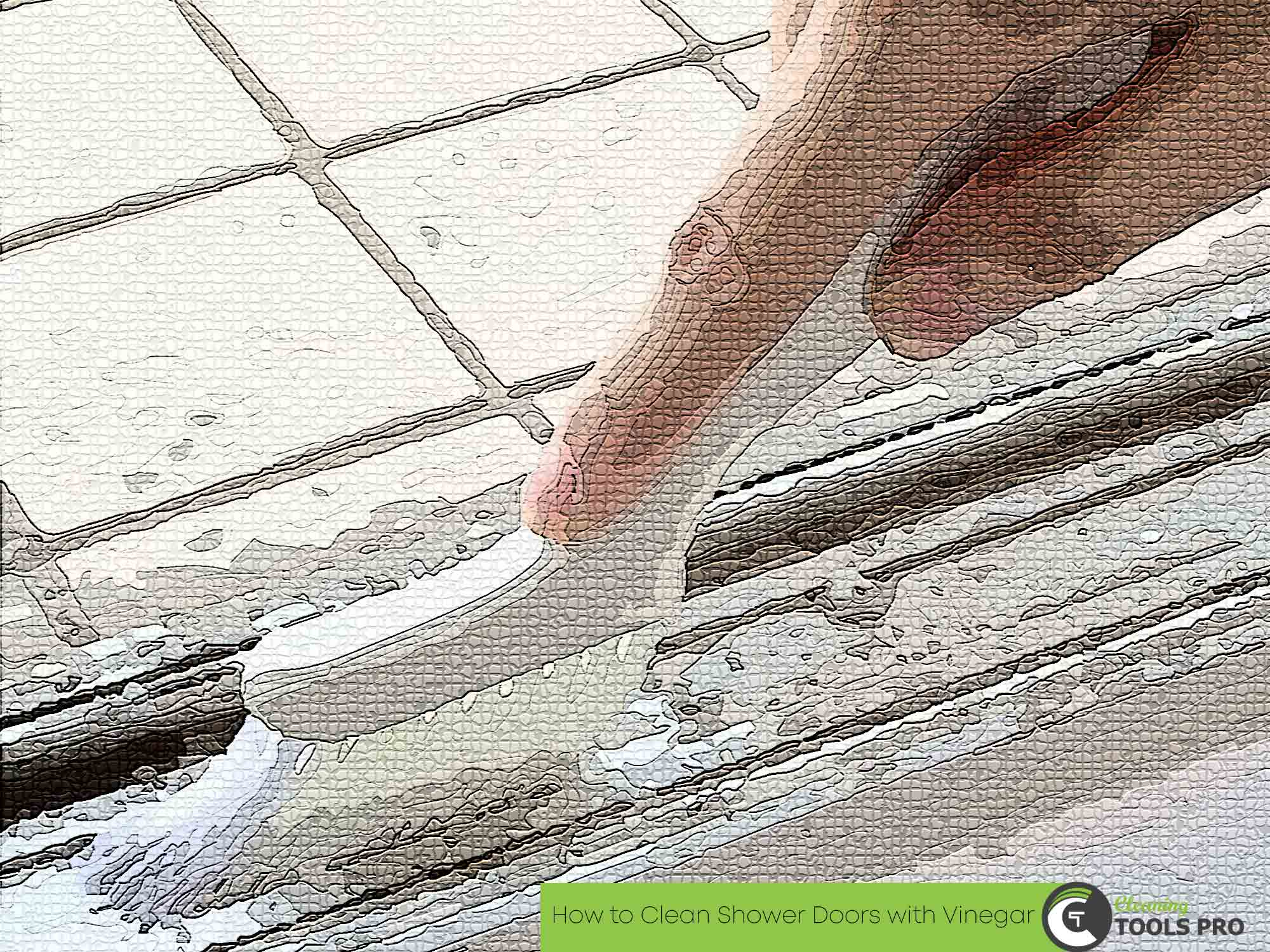 clean shower door hard stain with brush