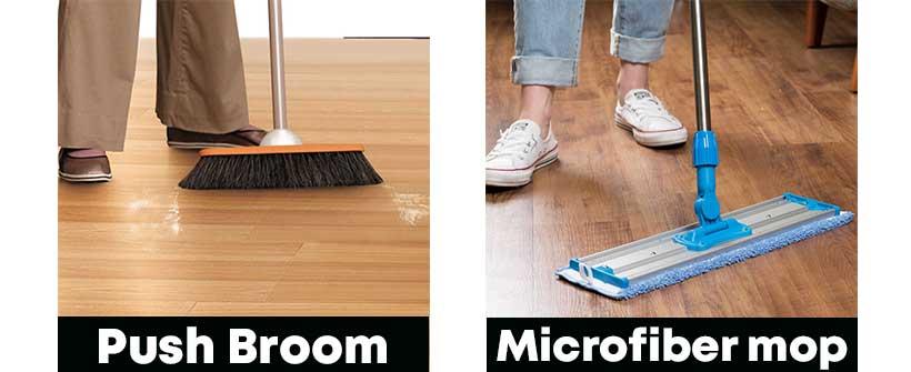 push-broom-&-Microfiber-mop-for-hardwood-floor-sweeping
