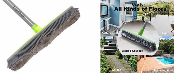 LandHope Push Broom Long Handle Rubber Bristles Sweeper Squeegee Edge