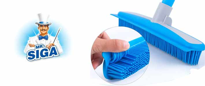MR.SIGA Soft Bristle Rubber Broom and Squeegee