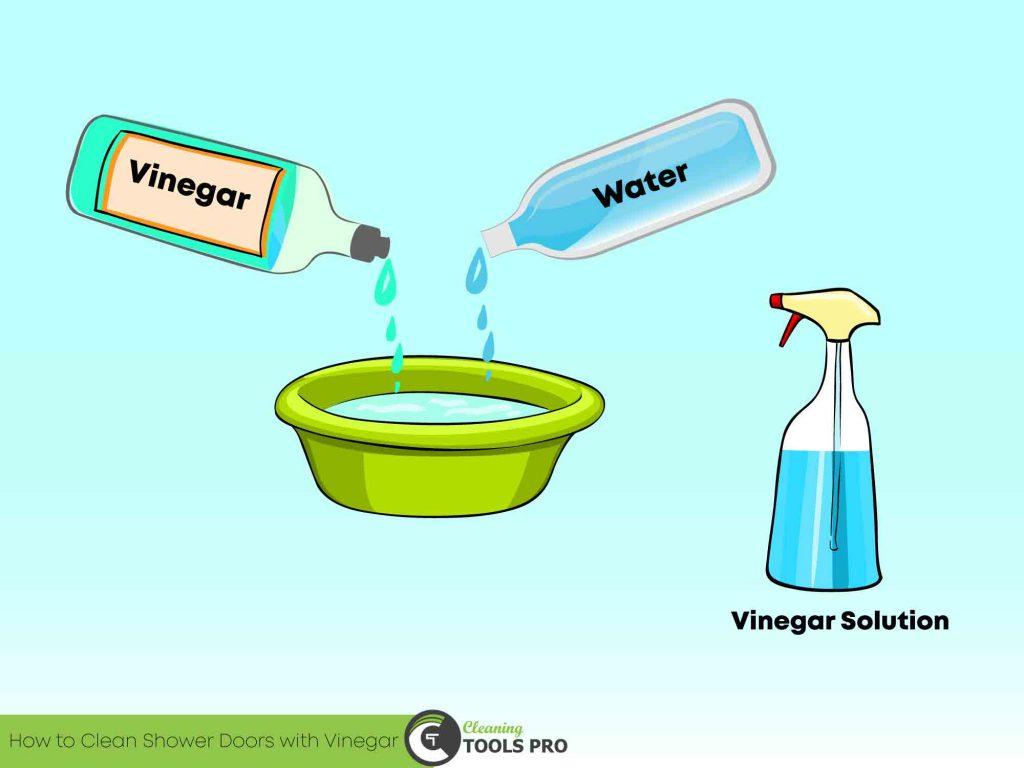 Vinegar & water solution for clean the shower door